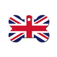 Bone Large Chrome Engravable Pet I.D. Tag - Union Jack