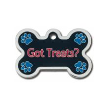 Got Treats? Bone Large Chrome Engravable Pet I.D. Tag