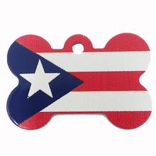 Bone Large Chrome Engravable Pet I.D. Tag - Puerto Rican Flag