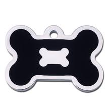 Bone Large Engravable Pet I.D. Tag - Chrome and Black
