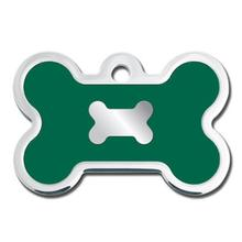 Bone Large Engravable Pet I.D. Tag - Chrome and Emerald Green