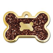 Bone Large Engravable Pet I.D. Tag - Gold and Bronze Glitter