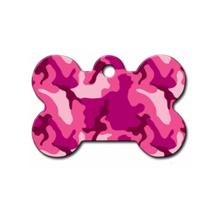 Bone Small Engravable Pet I.D. Tag - Pink Camo