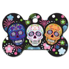 Bone Large Engravable Pet I.D. Tag - Sugar Skulls