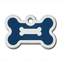 Bone Small Engravable Pet I.D. Tag - Chrome and Navy Blue