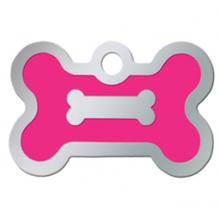Bone Small Engravable Pet I.D. Tag - Chrome and Neon Pink