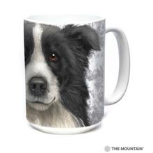 Border Collie Face Ceramic Mug by The Mountain