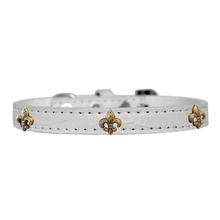 Bronze Fleur De Lis Widget Croc Dog Collar - White