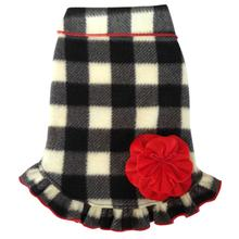 Buffalo Plaid Pullover Dog Dress with Flower - Black and White