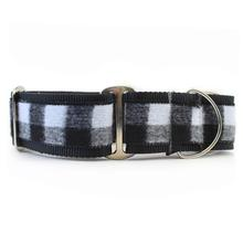 Buffalo Plaid Wide Martingale Dog Collar by Diva Dog - Glacier White