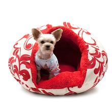 Burger Pet Bed by Dogo - Red Floral