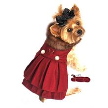 Wool Fur-Trimmed Dog Harness Coat by Doggie Design- Burgundy