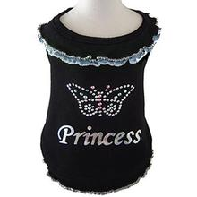 Butterfly Princess Blouse Dog Shirt - Black with Blue Trim