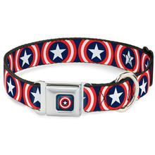 Captain America Shield Seatbelt Buckle Dog Collar by Buckle-Down - Navy