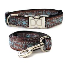 Calligraphy Brown Dog Collar and Leash Set by Diva Dog