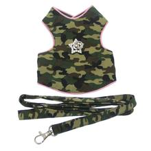 Camo Dog Harness Vest - Pink Trim with Swarovski Crystal Star