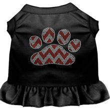 Candy Cane Chevron Paw Rhinestone Dog Dress - Black