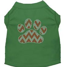 Candy Cane Chevron Paw Rhinestone Dog Shirt - Green