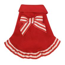 Candy Cane Ruffled Dog Pullover Dress - Red