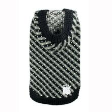 Candy Striped Hooded Dog Sweater by Hip Doggie - Black