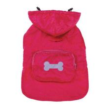 Fleece-Lined Stowaway Dog Rain Jacket - Pink