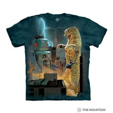 Catzilla vs. Robot Human T-Shirt by The Mountain