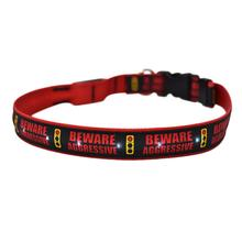 Caution Beware Aggressive Stop Light ORION LED Dog Collar by Yellow Dog