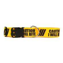 Caution Dog Collar by Yellow Dog - I Will Bite