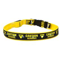 Caution Nervous Yield Sign ORION LED Dog Collar by Yellow Dog