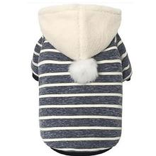 Parisian Pet Striped Pom Pom Dog Hoodie - Navy