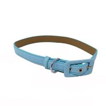 Pebbled Faux Leather Dog Collar by Cha-Cha Couture - Light Blue
