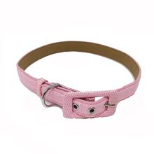 Pebbled Faux Leather Dog Collar by Cha-Cha Couture - Light Pink