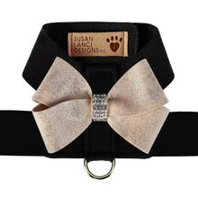 Champagne Glitzerati Nouveau Bow Tinkie Dog Harness by Susan Lanci - Black