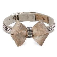Champagne Glizerati Nouveau Bow 3 Row Giltmore Dog Collar by Susan Lanci - Doe
