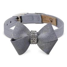 Platinum Glizerati Nouveau Bow Luxury Dog Collar by Susan Lanci - Platinum