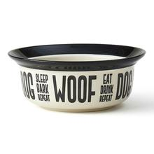 Eat Drink Repeat Dog Bowl - Natural/Black