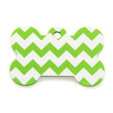 Chevron Bone Large Engravable Pet I.D. Tag - Green