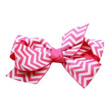 Chevron Dog Bow - Bright Pink