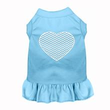 Chevron Heart Screen Print Dog Dress - Baby Blue