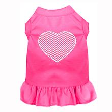 Chevron Heart Screen Print Dog Dress - Bright Pink