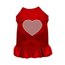 Chevron Heart Screen Print Dog Dress - Red