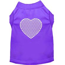 Chevron Heart Screen Print Dog Tank - Purple