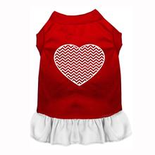 Chevron Heart Screenprint Dog Dress - Red with a White Skirt
