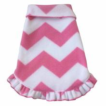 Chevron Ruffled Dog Pullover - Pink
