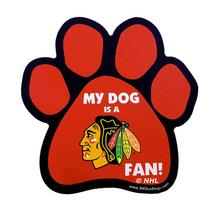 Chicago Blackhawks Dog Paw Car Magnet