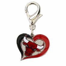 Chicago Bulls Swirl Heart Dog Collar Charm