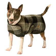 Chilly Dog Plaid Blanket Dog Coat - Black and White