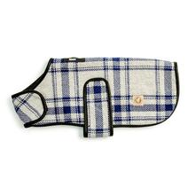 Chilly Dog Plaid Blanket Dog Coat - Gray and Blue