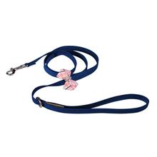 Peaches & Cream Glen Houndstooth Nouveau Bow Dog Leash by Susan Lanci - Indigo