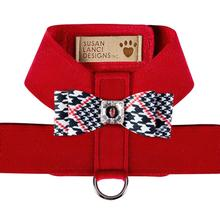 Classic Glen Houndstooth Big Bow Tinkie Dog Harness by Susan Lanci - Red